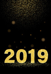Black New Year 2019 shiny background with golden figures.