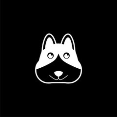Dog logo, Dog icon, Face dog sign on dark background