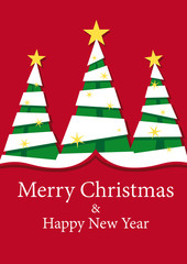 three fir trees christmas decoration background