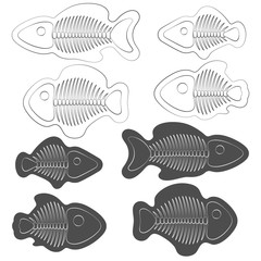 Set of black and white illustrations of fish with skeletons. Isolated vector objects on white background.