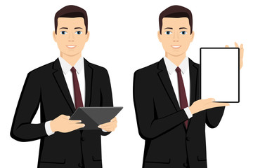 A businessman with a tablet computer. Isolated on white. Vector illustration