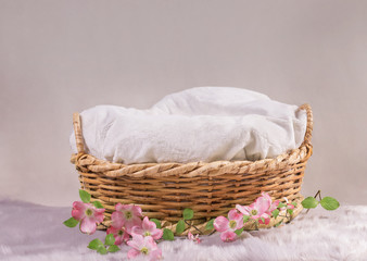 basket for baby decorated with flowers
