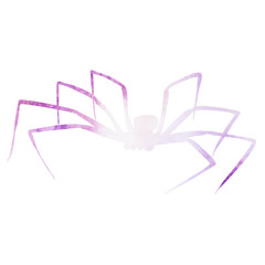 vector, isolated watercolor pink silhouette of a spider, insect