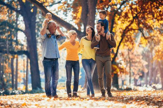 Multl generation family in autumn park having fun