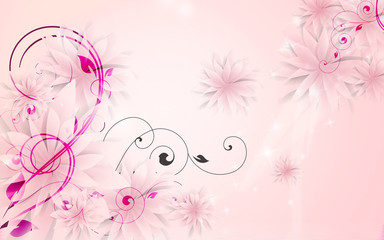 Light pink background, pink buds of fabulous colors