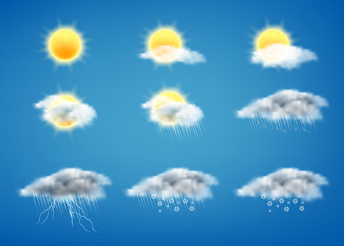 Vector realistic set of weather forecast icons for web interfaces or mobile apps, isolated on blue background. Meteorology symbols clipart, sunny day, gray clouds with rain, storm with lightning, snow