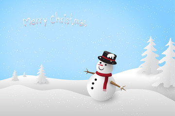 Snowman with Merry Christmas text in winter landscape scene with paper art style.