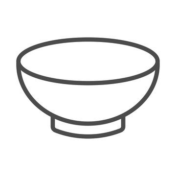 Soup bowl dishware outline art vector icon for food apps and websites