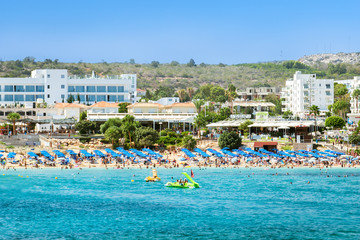 Summer vacation in Cyprus island. Protaras ,popular beach Fig tree bay.