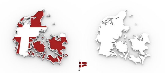 3D map of Denmark white silhouette and flag