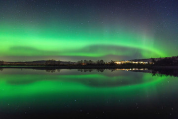 North lights on the sky above Norway, seen from Selbu area.