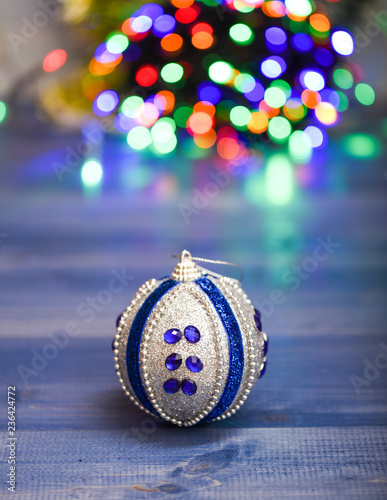 Roman Christmas Ornaments.Christmas Ornaments Concept Ball Ornament On Blue Wooden
