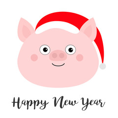 Pig piglet face in Santa red hat. Happy New Year. Cute cartoon funny baby character. Hog swine sow animal. Chinise symbol of 2019 new year. Zodiac sign. Flat design. White background.