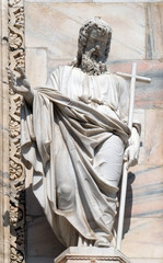 Saint Andrew statue on the facade of the Milan Cathedral, Duomo di Santa Maria Nascente, Milan, Lombardy, Italy