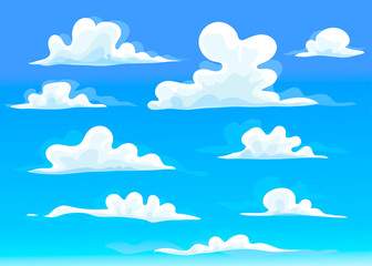Cartoon style clouds. Blue sky background. Hand drawn colored vector set. All elements are isolated