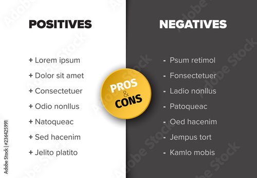 Vector Pros And Cons Compare Template Table