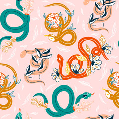 Snakes and flowers. Hand drawn colored vector seamless pattern. Pink background