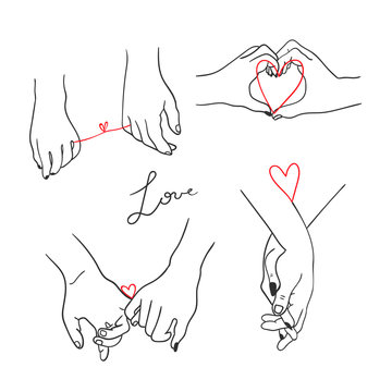One line drawn holding hands. Saint Valentine's day vector set. All elements are isolated