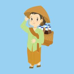 Indonesian woman, Javanese traditional herbal drink seller. Jamu gendong seller cartoon vector.