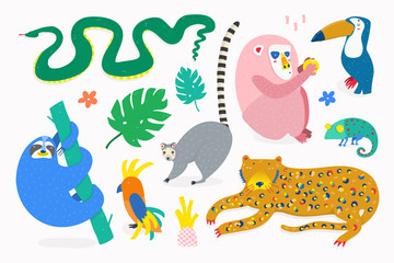 Hand drawn various jungle animals in unique trendy style. Colored vector set. Every animal is isolated