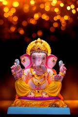 ord Ganesha idol ganesh festival chaturthi bokeh background