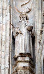 Saint Lazarus of Bethany, statue on the Milan Cathedral, Duomo di Santa Maria Nascente, Milan, Lombardy, Italy
