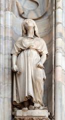 Saint Euphemia, statue on the Milan Cathedral, Duomo di Santa Maria Nascente, Milan, Lombardy, Italy