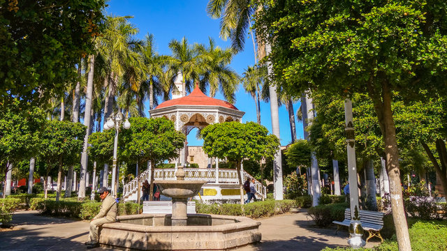 A gazebo and fountain in El Fuerte park, in the city of El Fuerte in Sinaloa state, Mexico