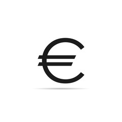 Euro sign icon with shadow
