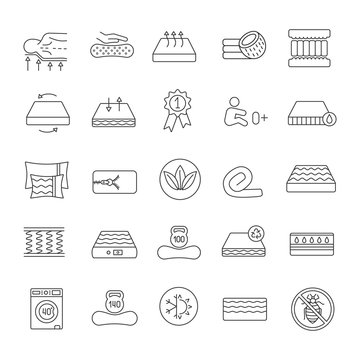 Mattress linear icons set