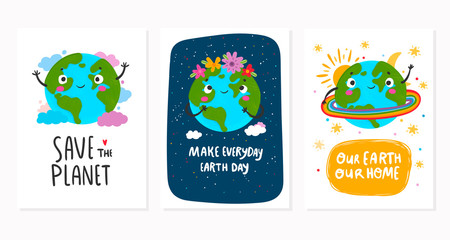 World Earth day. Hand drawn cute planet Earth in various conditions. Colored vector set of three motivational postcards. Every card is isolated