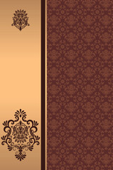 Wall Mural - Decorative background with golden border.