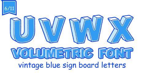 Volumetric Vintage Alphabet Font Vector Illustration. Set 6