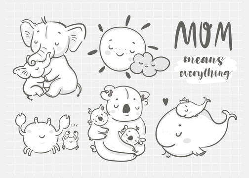 Happy mothers day! Mom means everything. Cute various cartoon mothers with their kids. Hand drawn vector set. All elements are isolated