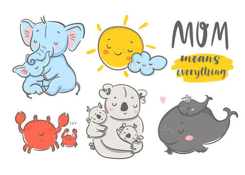 Happy mothers day! Mom means everything. Cute various cartoon mothers with their kids. Hand drawn colored vector set. All elements are isolated