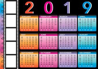 film style calendar 2019