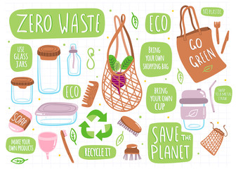 Go green! Zero waste. Various eco objects. Hand drawn big colored vector set. All elements are isolated