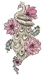 Paon aux fleurs