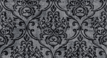 Vintage decor ornamented pattern Vector. Victorian texture. decorative design. Black stylish colors