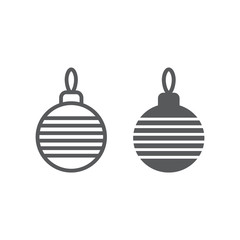 Christmas tree ball line and glyph icon, xmas and decoration, bauble sign, vector graphics, a linear pattern on a white background, eps 10.