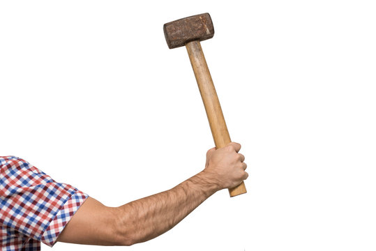 Old sledgehammer in a man's hand. White background. Isolated