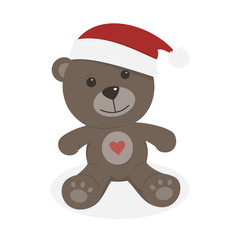 Isolated christmas teddy bear on a white background