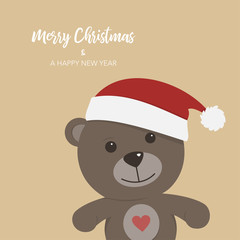 Christmas card with teddy bear on colored background