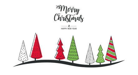 Modern greeting card Merry Christmas. Vector illustration with Christmas tree. In the colors red, green, white.