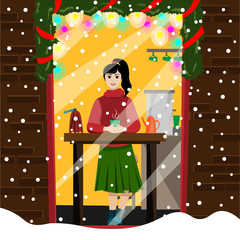 The girl has a hot mug of coffee in the window of an outdoor cafe. Illustration in flat style.