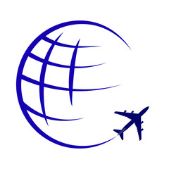 logo on the theme of global air travel and travel