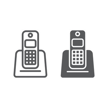 Wireless telephone line and glyph icon, appliance and communication, phone sign, vector graphics, a linear pattern on a white background.