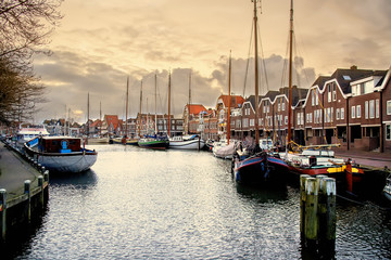 View on the yacht harbor at the evening, Hoorn, Netherlands