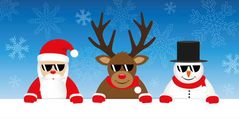 cute reindeer santa claus and snowman cartoon with sunglasses on snowy winter background vector illustration EPS10
