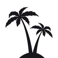 two palm trees silhouette vector illustration EPS10